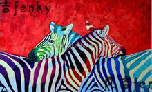 handmade colourful funny zebra oil painting
