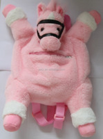 top high quality plush horse toy shape pink color animal backpack for kids
