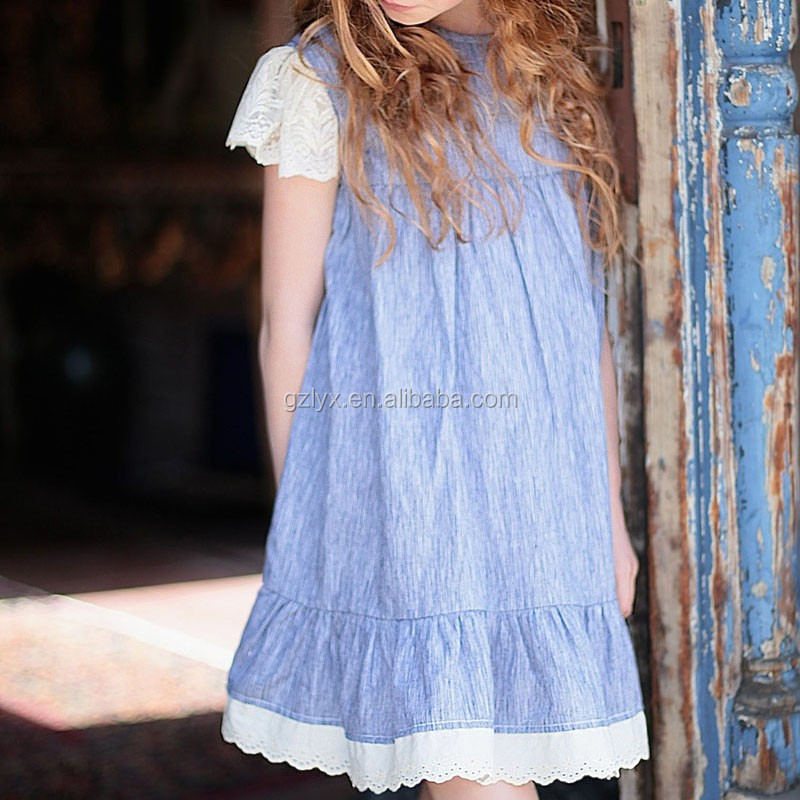 Ruffle long dresses for kids girl summer casual smoking lace ruffle dresses for little girls