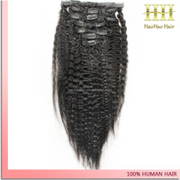 Dropshipping kinky straight natural color human virgin hair clip in layer hair extension