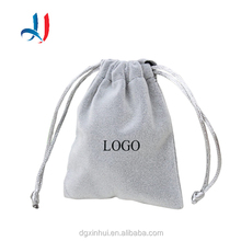 China Supplier Customized Logo with samll Suede Velvet Pouch Drawstring Jewelry pouch Gift packaging Bag