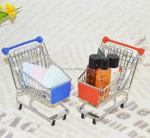 Gift item mini supermarket trolley cart small shopping basket for sales promotion in candy sweet cake makeup cosmetic