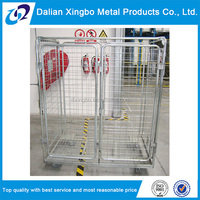 galvanized foldable rolling metal storage cage
