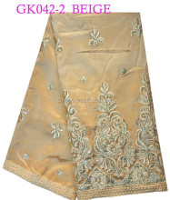 GK042-2 beige indian raw silk george wrappers george lace for making women clothes