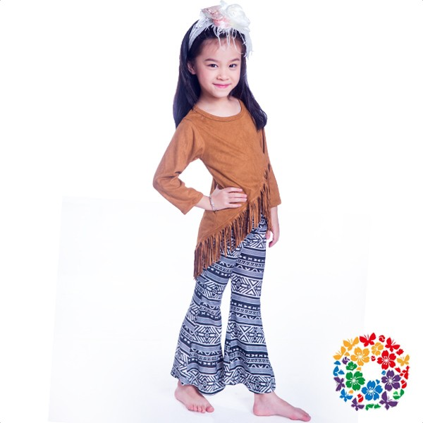 Boutique Girl Fringe Clothing Set Long Sleeve Fall Outfits Baby Girls Aztec Printed Baggy Pants Set Giggle Moon Remake Outfits
