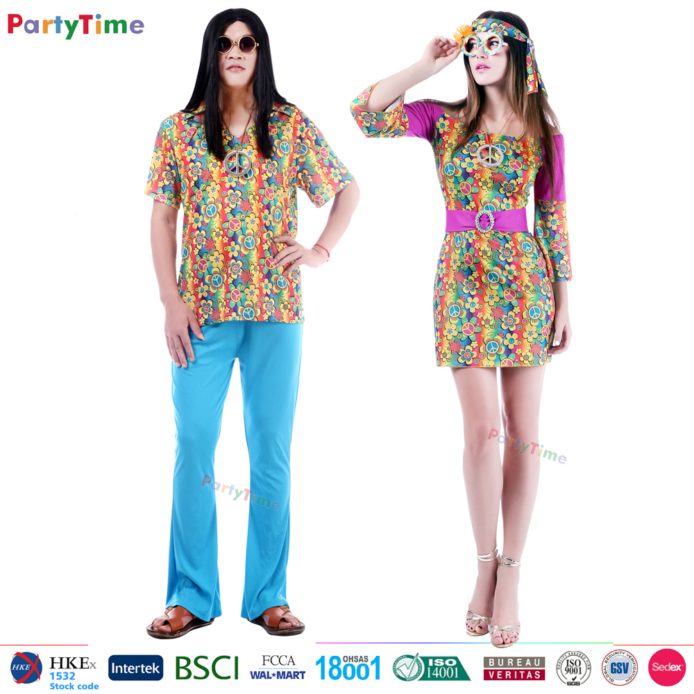 wholesale adult men women carnival party time hippie halloween costumes