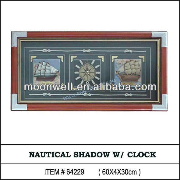 Wooden nautical frame with clock,with boat, shadow box,Decorative Frame,Gifts,Souvenir,Handicrafts,Home Decor,Wall decoration