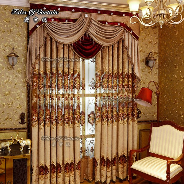 Tales of curtain luxury and royal design for living room embroidery readymade curtain