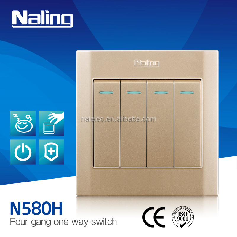 4 gang 1 way Wall mounted light Switch