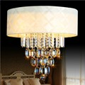 white fabric lampshade crystal drop ceiling lamp