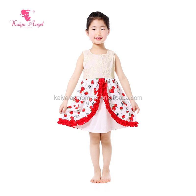 Strawberry Print Dress For Baby Girls Children Frocks Designs