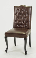 oak Italian style dining chair, button tufted leather dining chair