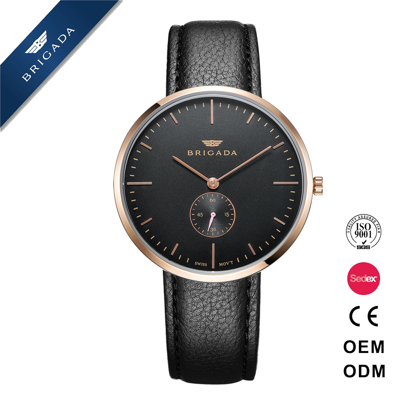 Hot sale all black cool man quartz simple watch with genuine leather strap 3ATM water resistant