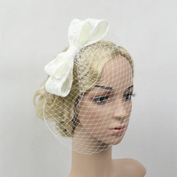Bowknot Birdcage Wedding Veil Black Bridal Hair Headwear With Mesh Veil