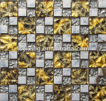 2013 new products on market, decorative 8mm thickness stainless steel mix glass mosaic wall tiles, floor tiles decoration GM26