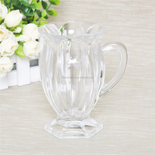 Mouth blown crystal glass beer mug clear glass coffee mug with handle and stand for use