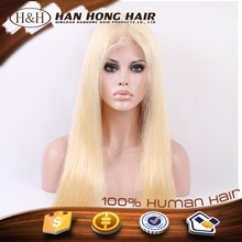Blond Full Lace Wig Brazilian Silky Straight Remy 613 Blonde Human Hair Lace Front Wig with Baby Hair For White Women