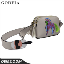 Welcome sample order ! New fashion design horse pattern promotion lady leather messenger bag for sale