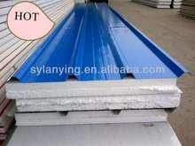 Blue color coated prepainted corrugate polyurethane(EPS) roof sandwich panels from Chinese supplier