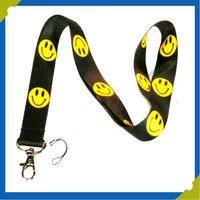 Silk Screen Printing Charms black Cute Smiling Face Mobile Phone Lanyard Neck Strap