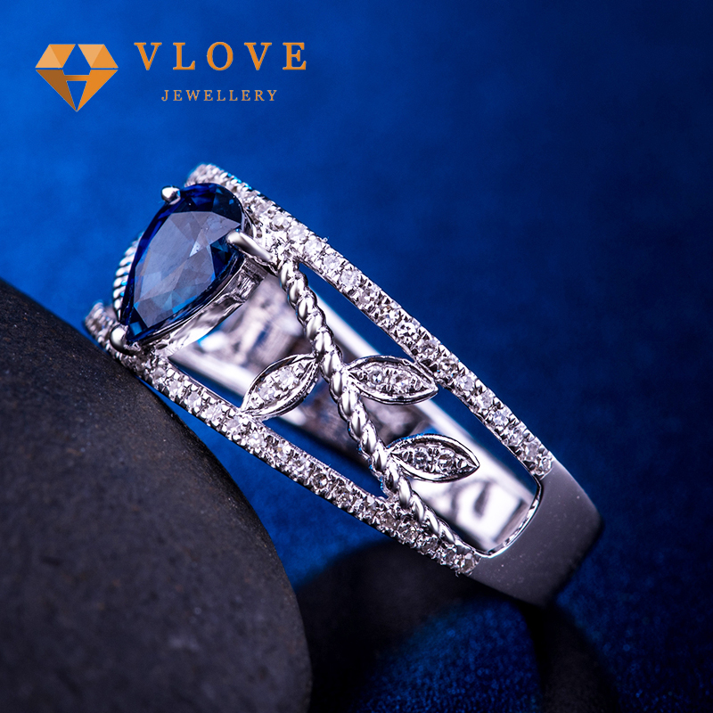 Fashion big teardrop shape blue stone Jewels silver 925 Ring , sterling silver ring for woman and girls