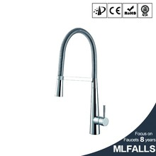 Modern style deck mount hot and cold mixing valve pull-out rock control kitchen faucet