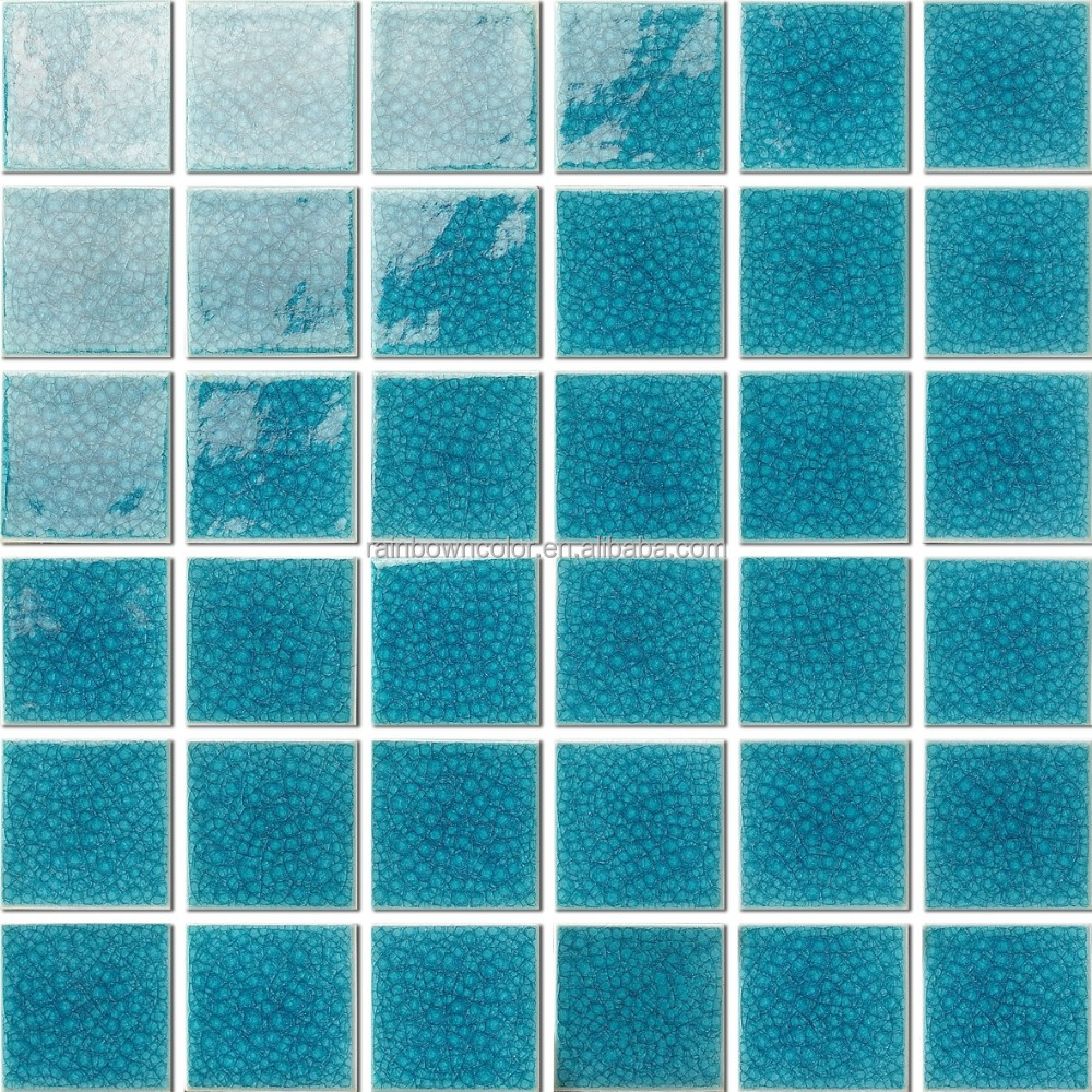 RAINBOW 48X48mm Complicated crackle glazed swimming pool hot sale ceramic mosaic/ Foshan tile