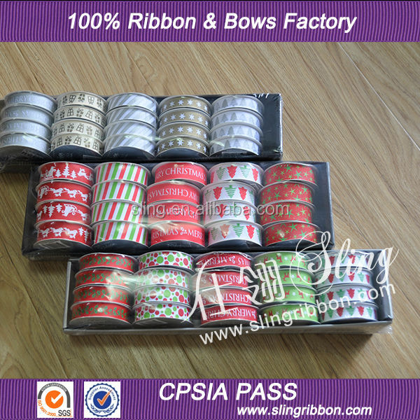Factory High Quality Printed Christmas Celebrate It Ribbon