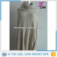 High Neck Cabled Knitting Pattern Poncho For Women