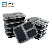 BPA Free Reusable Airtight PP 3 Compartment Container Take Away Plastic Meal Prep Bento Lunch Box Food Container