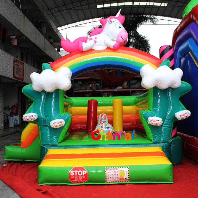 inflatable Unicorn Bounce House for small kids play indoor outdoor use