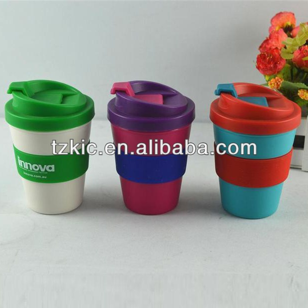 8oz plastic coffee mug with silicone grip and lid