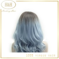 Popular fashion hairstyle glueless full lace 100% remy human hair no fiber and sythetic hair mixed blue mixed grey wig