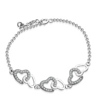 Christmas Gift AAA 100% Sterling Silver 925 Jewelry Bracelets & Bangles Lovely Heart Bracelet Free Shipping
