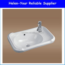 Squar Ceramic Wash Hand Single Sink White Wash Bowl Bathroom Above Counter Mouning Art Basin No.9376