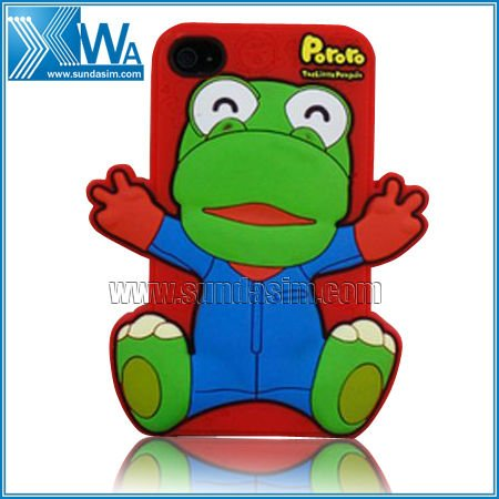 3d Pororo silicone case for iphone 4 funny frog