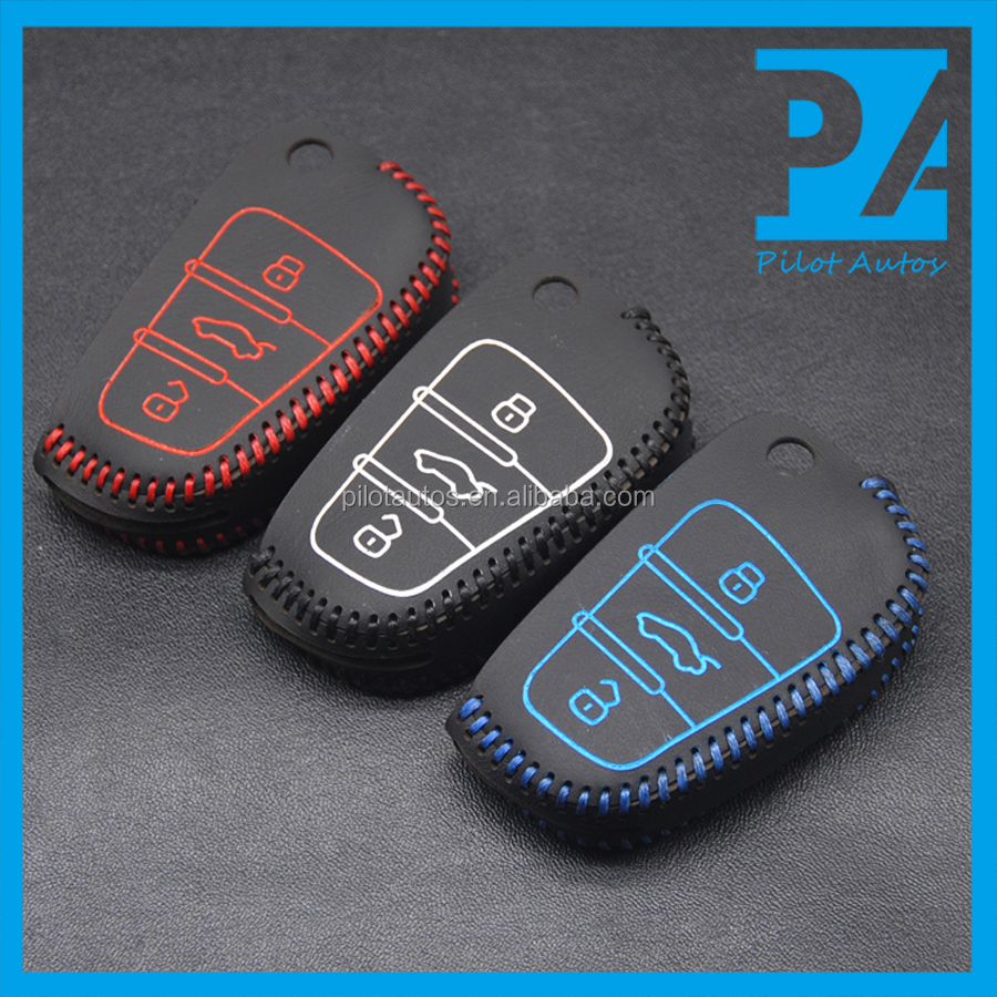Facttory Wholesale Colorful Logo NO Logo Audi Leather Car Keys Cover Case For Audi Fold 3 Buttons With Hooks Key Chain Key Ring