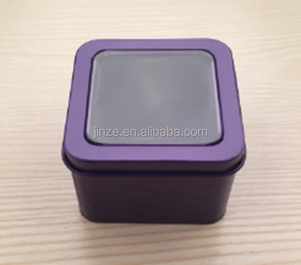 wholesales custom color and design square shape metal watch tin box with lid