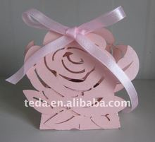 Hot !!! 2012 Valentine's day pink rose flowers paper candy box