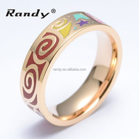 Newest Vortex Design Vintage Enamel Rings Gold Plated Jewellery