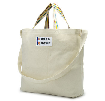 Durable Canvas Single Shoulder Tote Bag Handbag with Long strap for shopping store and advertising promotional handbag