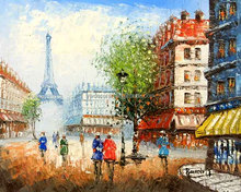 Champs Elysees Oil Painting with Street and Buildings