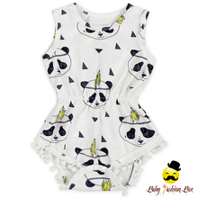 Cute Panda Pattern Printed Summer Sleeveless Infant Baby Pom Pom Romper One Piece Leotard NewBorn Baby Clothing