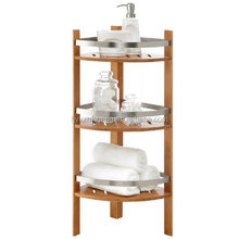Free Standing Bamboo Bathroom Storage Corner Shelves for Towels, Soap, Candles, Tissues, Lotion, Accessories - 3 Tiers
