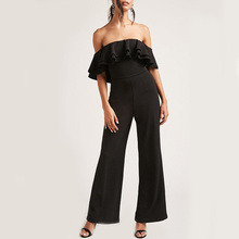 Off the shoulder neckline dual flounce layers wide leg formal jumpsuits