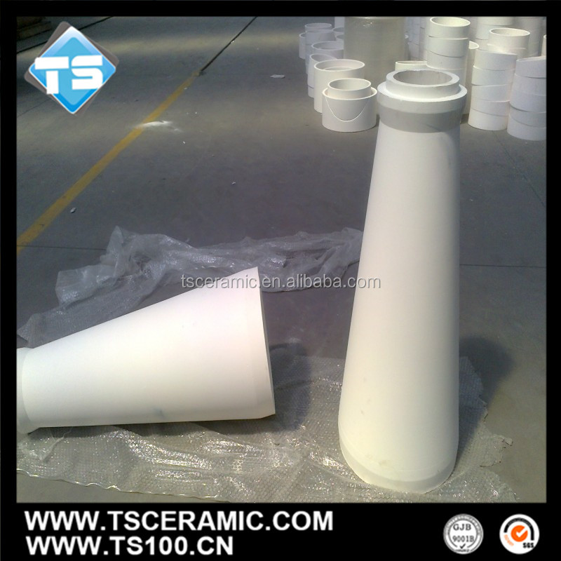 wear resistant 92% 95% alumina ceramic tapered tube with customized sizes