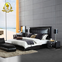 luxury italian modern bedroom furniture soft bed Pu bed black gloss painting furniture