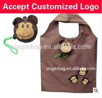 Professional shopping bag with wheels polyester drawstring bag little bear