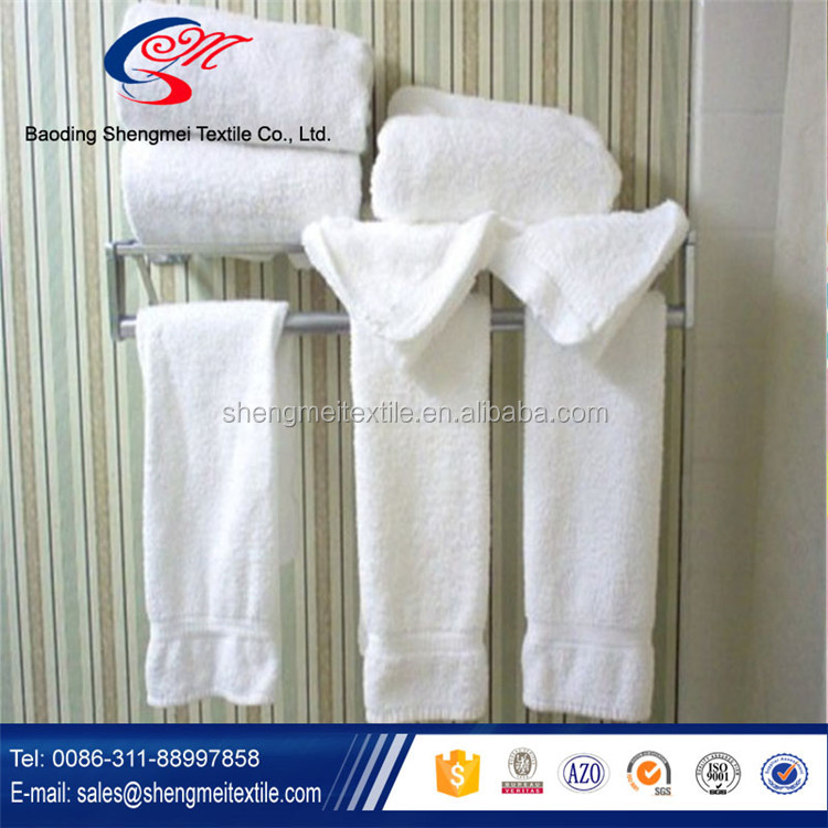 Custom white hotel towel with embroidery logo