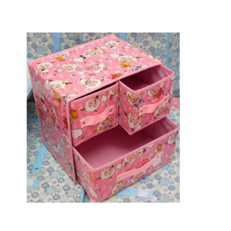 Drawer type fabric cover cartoon storage box